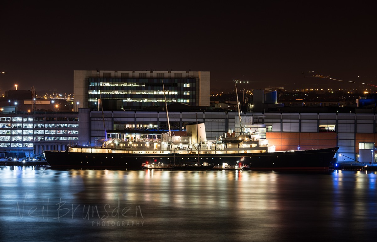 The Royal Yacht Brittannia at Night